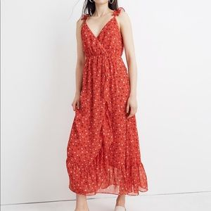 New Madewell Red Ruffle-Strap Floral Wrap Dress 10